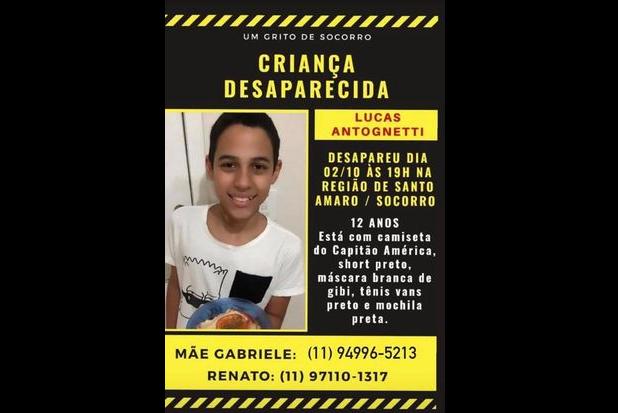 Criança de 12 anos desaparece na região de Santo Amaro, zona sul de SP